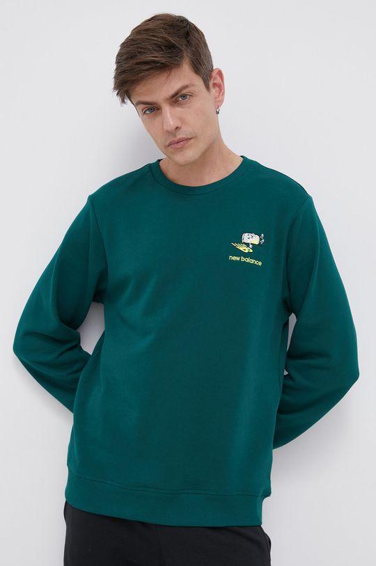 ciemny zielony New Balance - Bluza bawełniana