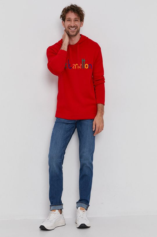 czerwony United Colors of Benetton - Sweter Męski