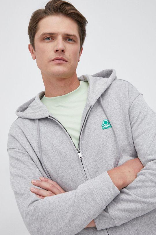 szary United Colors of Benetton - Bluza bawełniana