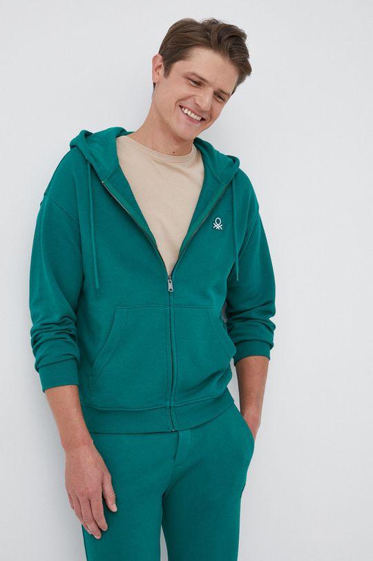 zielony United Colors of Benetton - Bluza bawełniana Męski