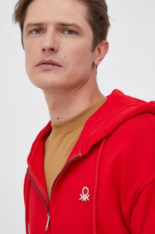 czerwony United Colors of Benetton - Bluza bawełniana