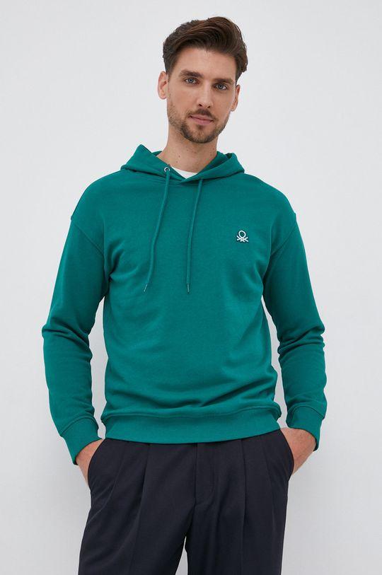 πράσινο United Colors of Benetton - Βαμβακερή μπλούζα Ανδρικά