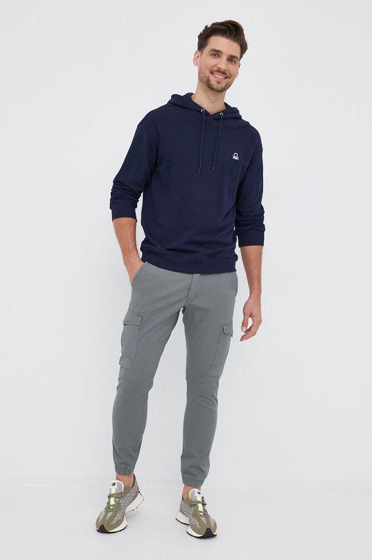 United Colors of Benetton - Βαμβακερή μπλούζα σκούρο μπλε