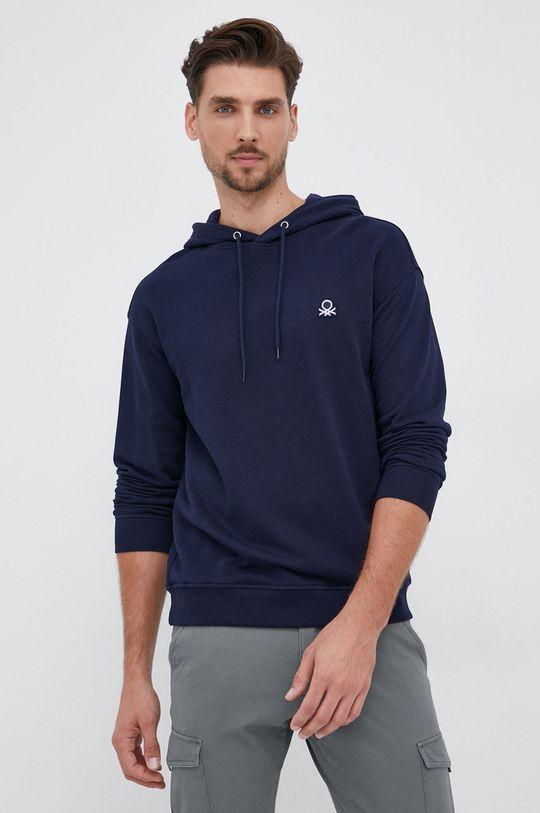 σκούρο μπλε United Colors of Benetton - Βαμβακερή μπλούζα