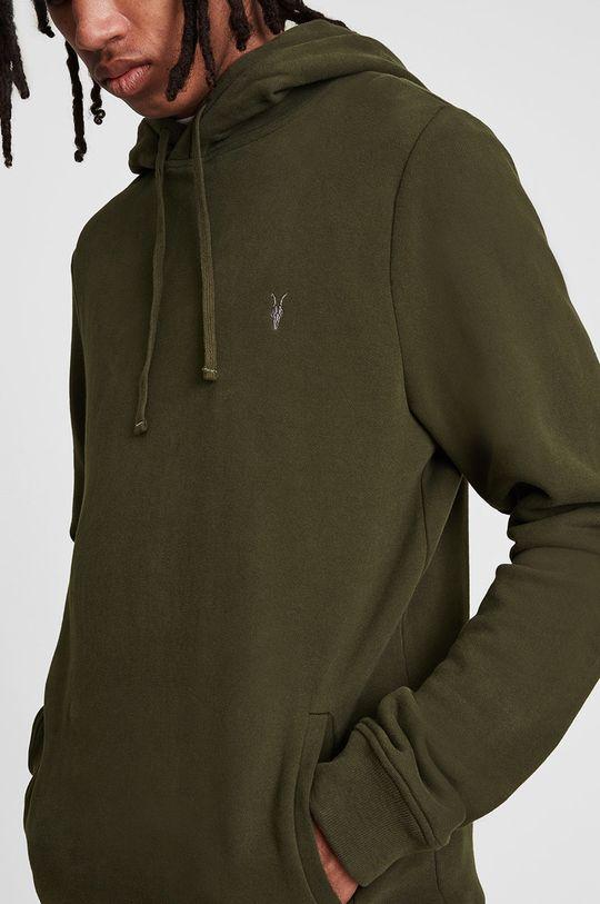 AllSaints - Bluza bawełniana brązowa zieleń