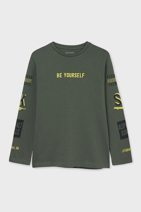 hnedozelená Mayoral - Detské tričko s dlhým rukávom Chlapčenský