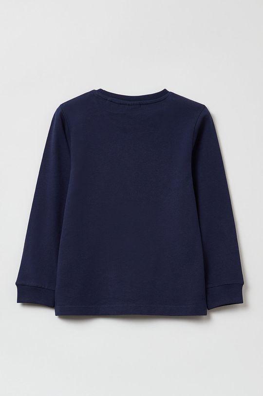 OVS - Bluza bawełniana dziecięca granatowy