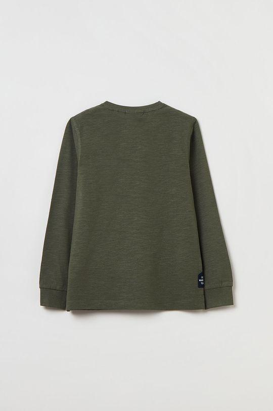 OVS - Longsleeve bawełniany dziecięcy brązowa zieleń