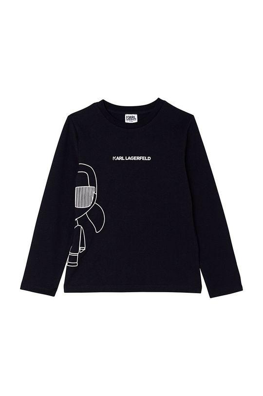 czarny Karl Lagerfeld - Longsleeve bawełniany dziecięcy Chłopięcy
