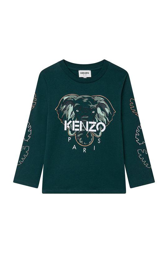 ciemny zielony KENZO KIDS - Longsleeve bawełniany dziecięcy Chłopięcy
