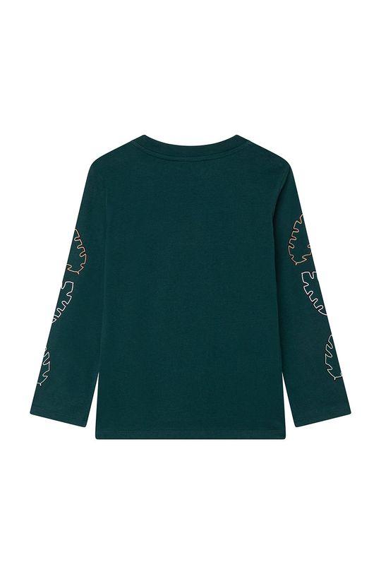 KENZO KIDS - Longsleeve bawełniany dziecięcy ciemny zielony