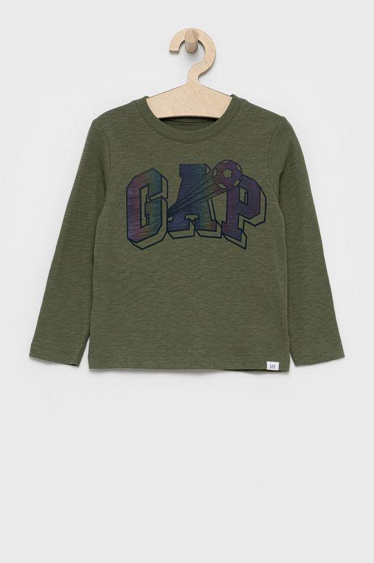 brudny zielony GAP - Longsleeve bawełniany dziecięcy Chłopięcy