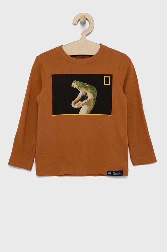 złoty brąz GAP - Longsleeve bawełniany dziecięcy x National Geographic Chłopięcy