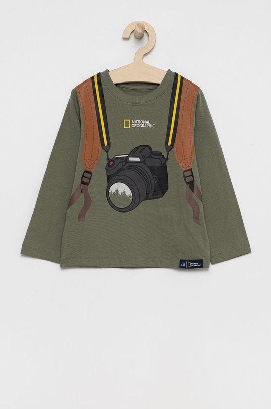 brudny zielony GAP - Longsleeve bawełniany dziecięcy x National Geographic Chłopięcy