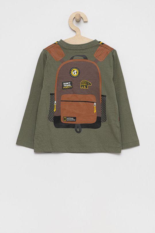 GAP - Longsleeve bawełniany dziecięcy x National Geographic brudny zielony