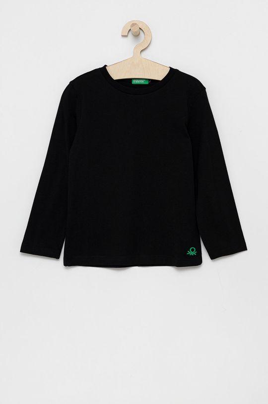 čierna United Colors of Benetton - Detská bavlnená košeľa s dlhým rukávom Chlapčenský