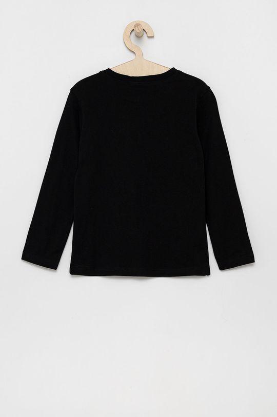 United Colors of Benetton - Detská bavlnená košeľa s dlhým rukávom čierna