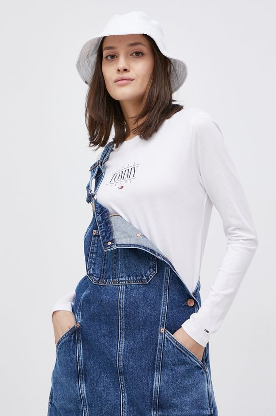 biały Tommy Jeans - Longsleeve bawełniany