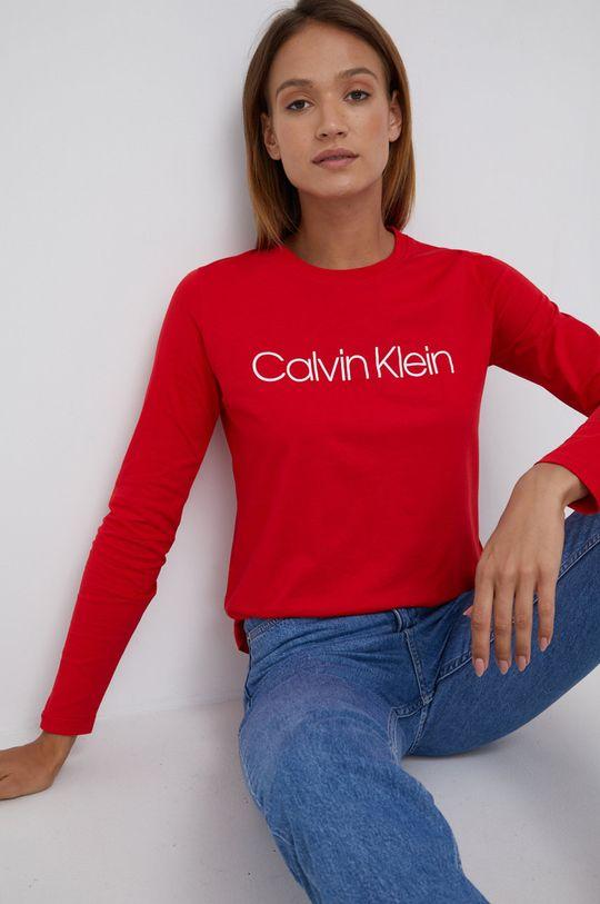 Calvin Klein - Longsleeve bawełniany czerwony