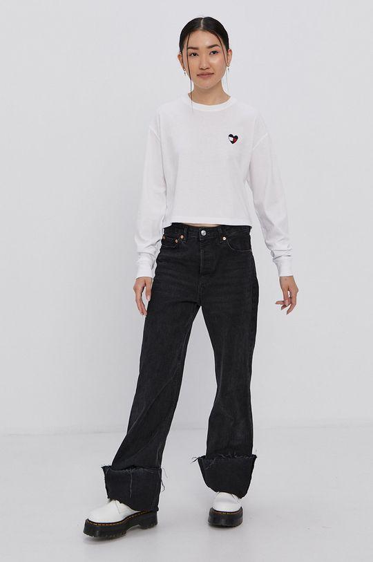 Tommy Jeans - Tričko s dlouhým rukávem bílá