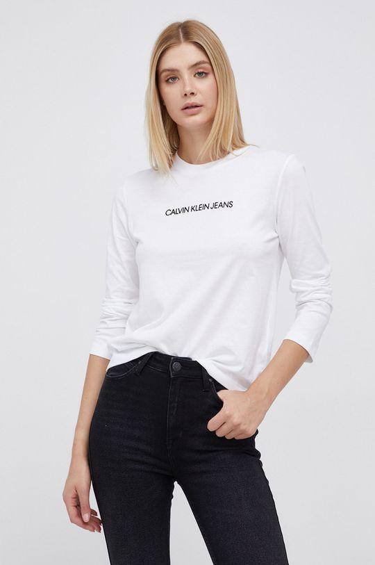 biały Calvin Klein Jeans - Longsleeve bawełniany Damski