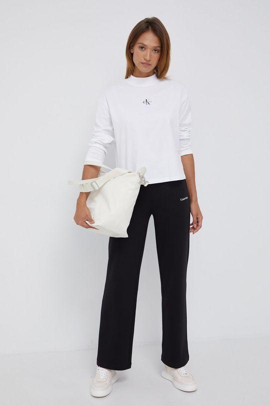 Calvin Klein Jeans - Longsleeve bawełniany biały