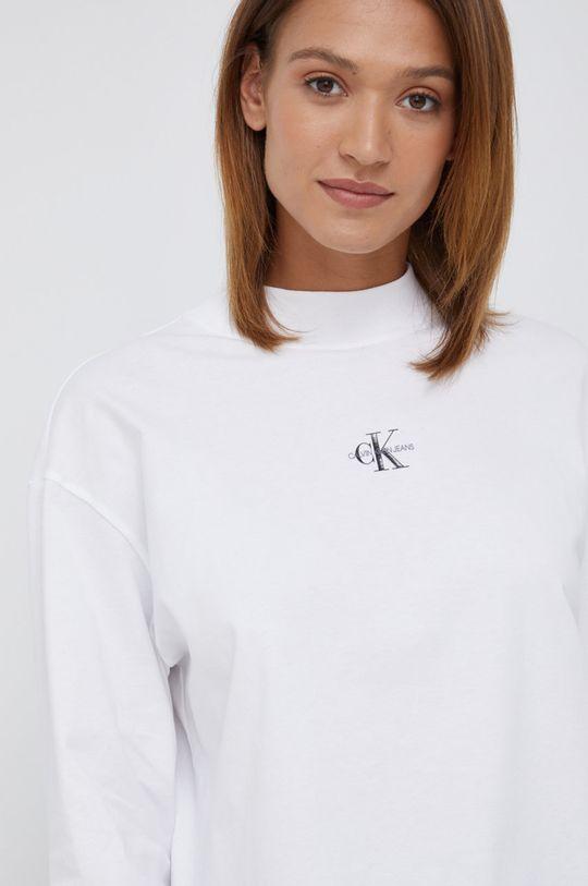 biały Calvin Klein Jeans - Longsleeve bawełniany