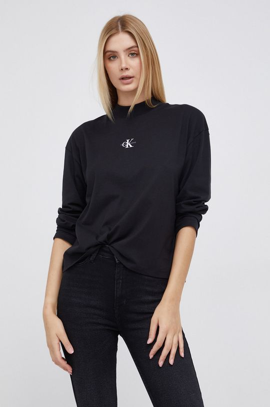 czarny Calvin Klein Jeans - Longsleeve bawełniany Damski