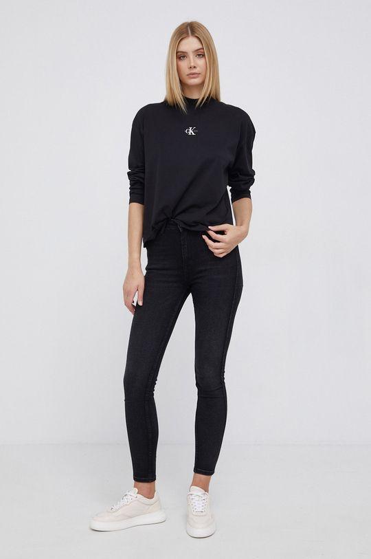 Calvin Klein Jeans - Longsleeve bawełniany czarny