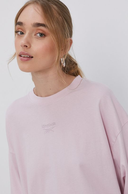 pastelově růžová Reebok Classic - Tričko s dlouhým rukávem Dámský