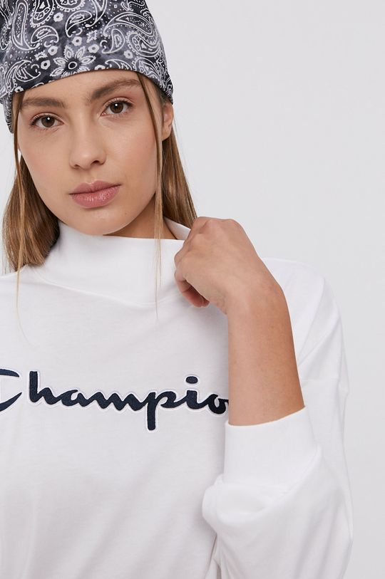 alb Champion - Longsleeve din bumbac