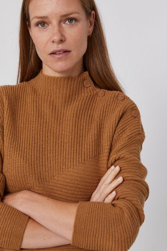 brązowy United Colors of Benetton - Sweter z domieszką wełny Damski