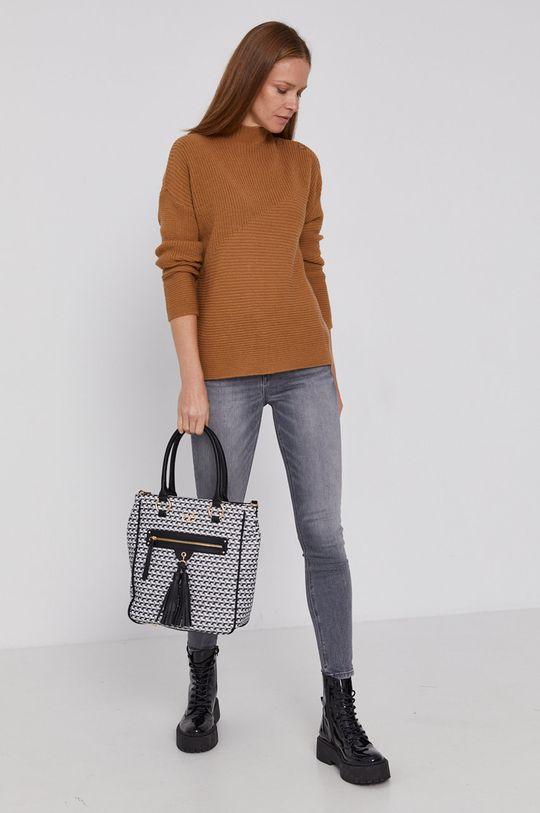 United Colors of Benetton - Sweter z domieszką wełny brązowy
