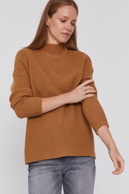 brązowy United Colors of Benetton - Sweter z domieszką wełny