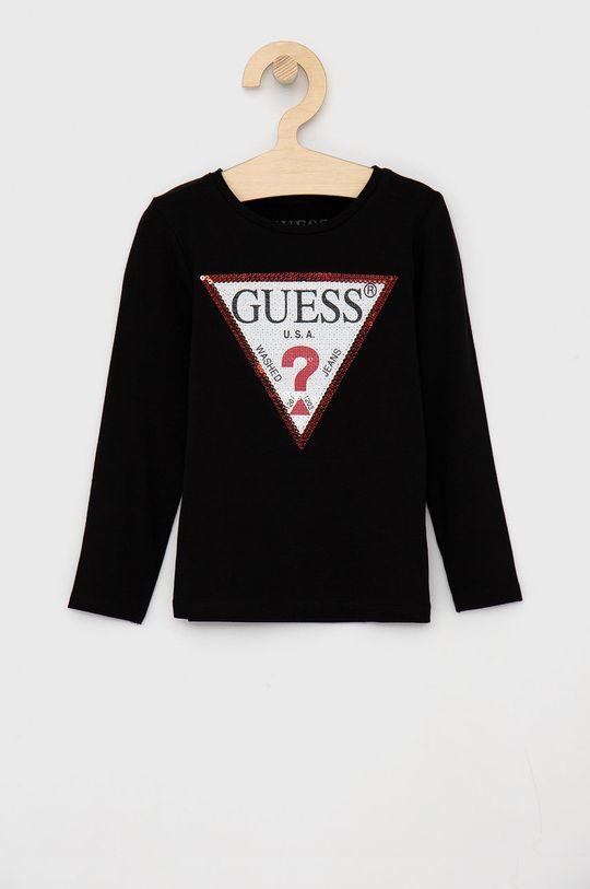 černá Guess - Dětské tričko s dlouhým rukávem Dívčí