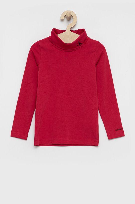 różowy Calvin Klein Jeans - Longsleeve dziecięcy Dziewczęcy