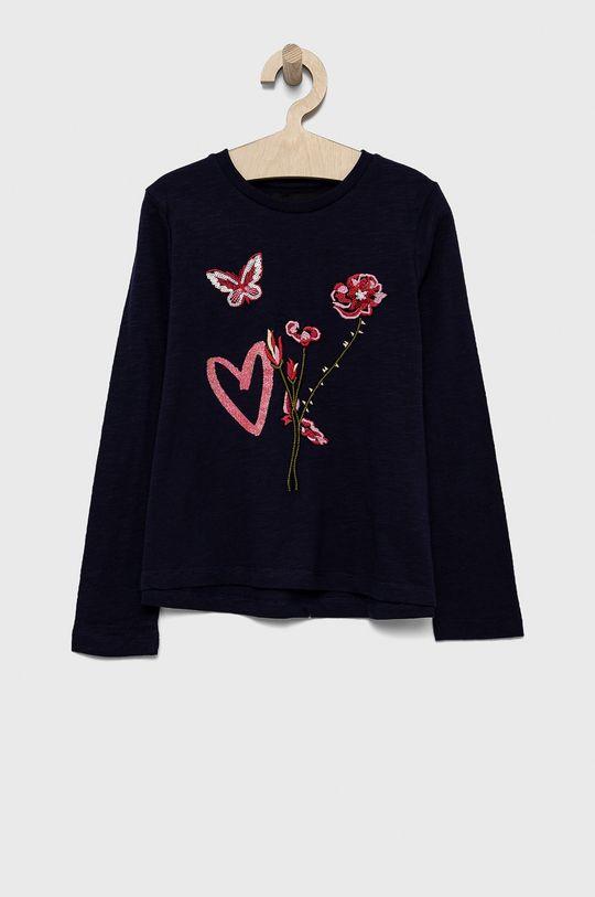 tmavofialový Desigual - Detská bavlnená košeľa s dlhým rukávom Dievčenský