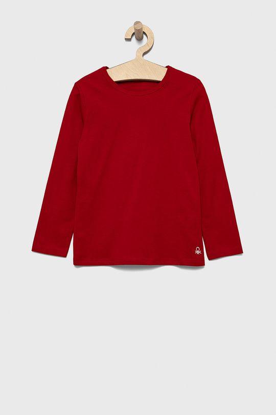 červená United Colors of Benetton - Detská bavlnená košeľa s dlhým rukávom Dievčenský