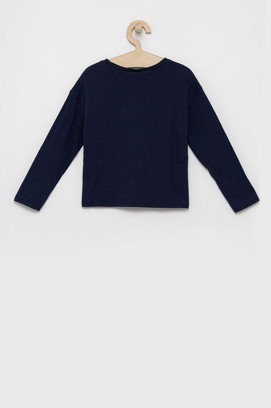 United Colors of Benetton - Detská bavlnená košeľa s dlhým rukávom tmavomodrá