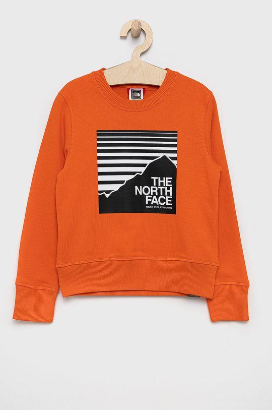 pomarańczowy The North Face - Bluza bawełniana dziecięca Dziecięcy