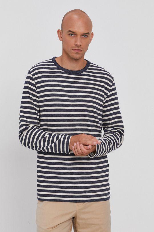 námořnická modř Selected - Bavlněné tričko s dlouhým rukávem Pánský