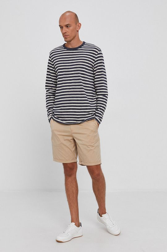 Selected - Bavlněné tričko s dlouhým rukávem námořnická modř