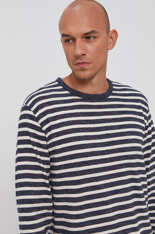 námořnická modř Selected - Bavlněné tričko s dlouhým rukávem