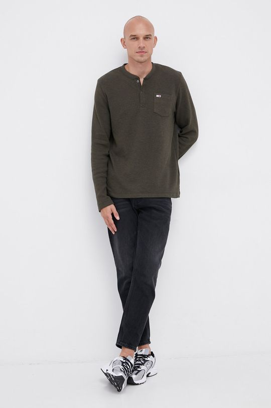 oliwkowy Tommy Jeans - Longsleeve Męski