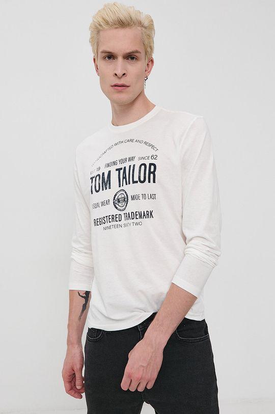 Tom Tailor - Longsleeve bawełniany biały