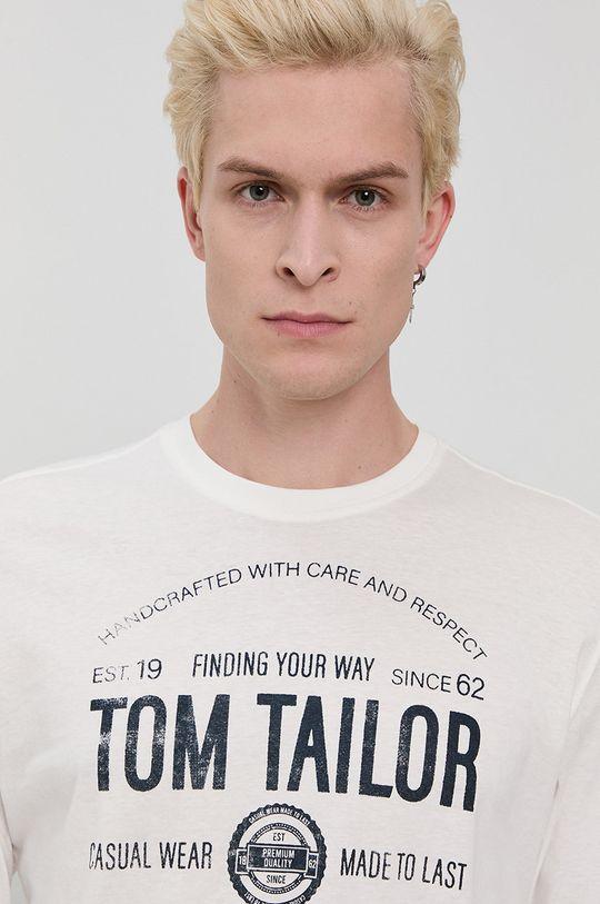 biały Tom Tailor - Longsleeve bawełniany