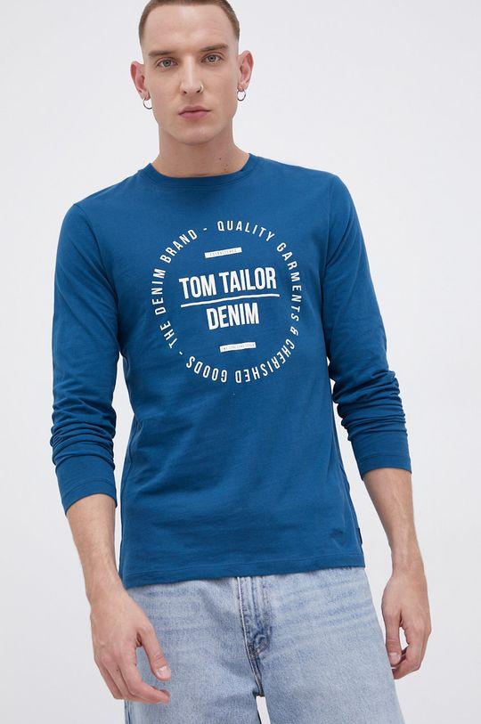 Tom Tailor - Longsleeve bawełniany turkusowy