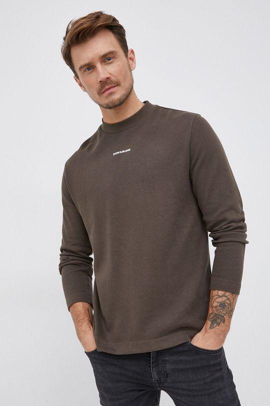 okrová Calvin Klein Jeans - Bavlněné tričko s dlouhým rukávem Pánský