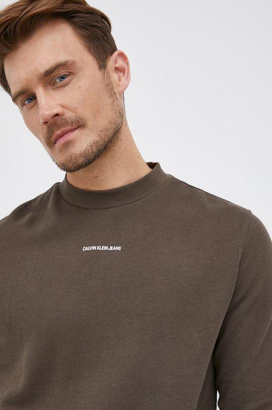 okrová Calvin Klein Jeans - Bavlněné tričko s dlouhým rukávem