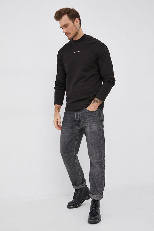 černá Calvin Klein Jeans - Bavlněné tričko s dlouhým rukávem Pánský